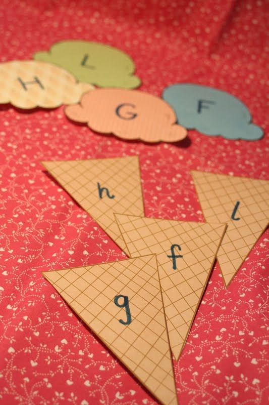 Uppercase + Lowercase letter matching using ice cream scoops and cones (printed on scrapbook paper-cute)