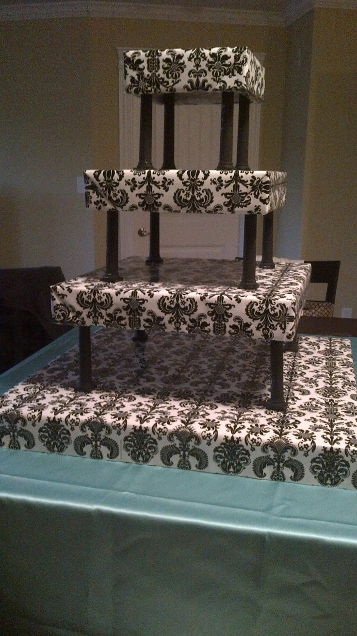 Uncategorized cupcake stands for weddings cheap - I Re Vamped My Wedding Cupcake Stand In Damask Print