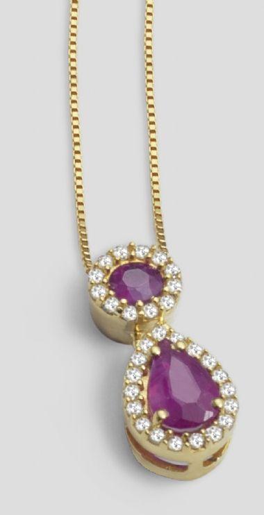 Gargantilha com Pingente em Ouro Amarelo com 12 Ptos de Diamantes e Rubis | Guest Club