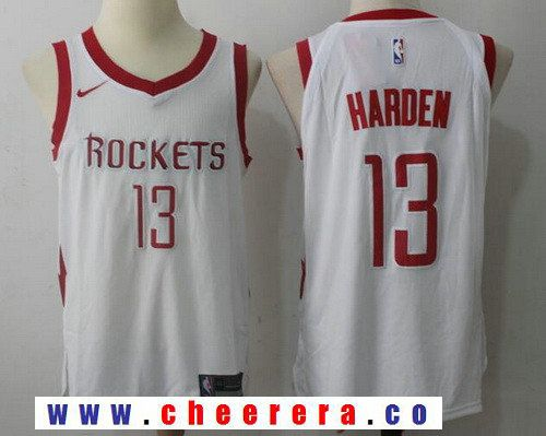 Men s Houston Rockets  13 James Harden New White 2017-2018 Nike Swingman  Stitched NBA Jersey d8e32ba54