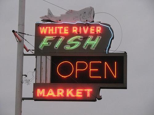 White River Fish Market Neon Sign by Lost Tulsa, via Flickr
