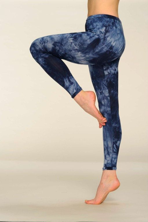Leggings Blue Indigo Tie Dye Cotton Yoga Pants by CardamomClothing