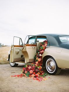Who wouldn't love a car filled with blooms.