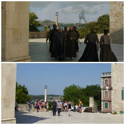 The area around the St. Jacob cathedral in Šibenik, Croatia  In episode 9 of season 5, a girl selling oysters is following a group of men through Braavoos. The cathedral is used as the iron bank of Braavoos in Game of Thrones