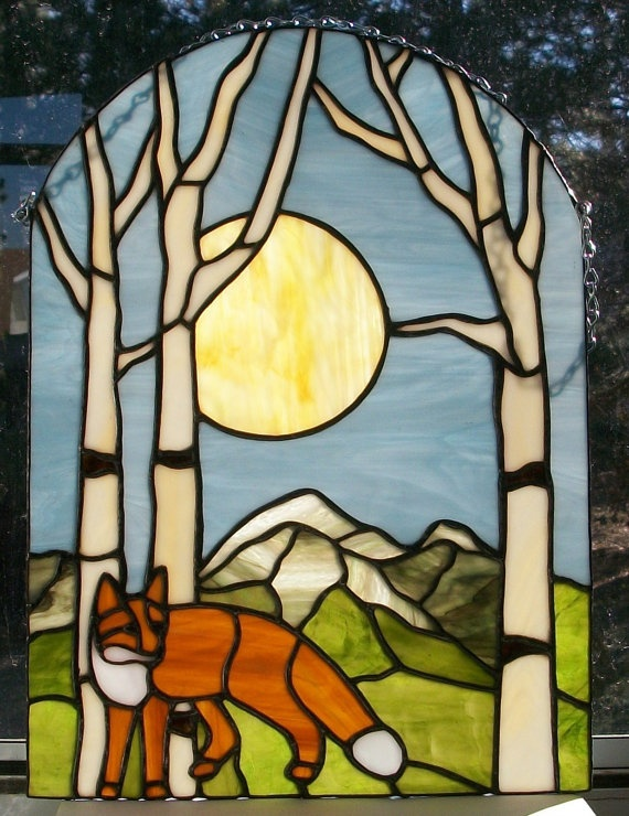 Stained Glass Fox in the Aspens by Conijash on Etsy, $190.00