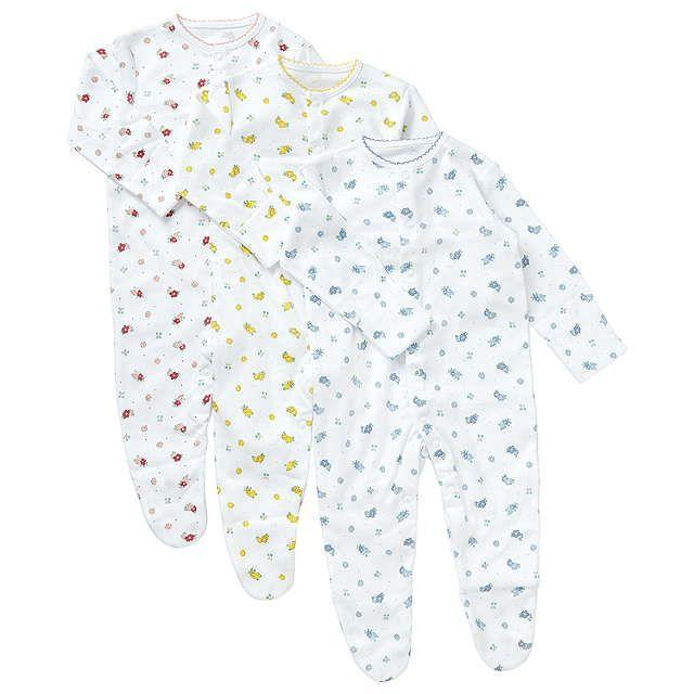 BuyJohn Lewis Baby Vintage Flower Sleepsuit, Pack of 3, Pink/Grey, Newborn Online at johnlewis.com