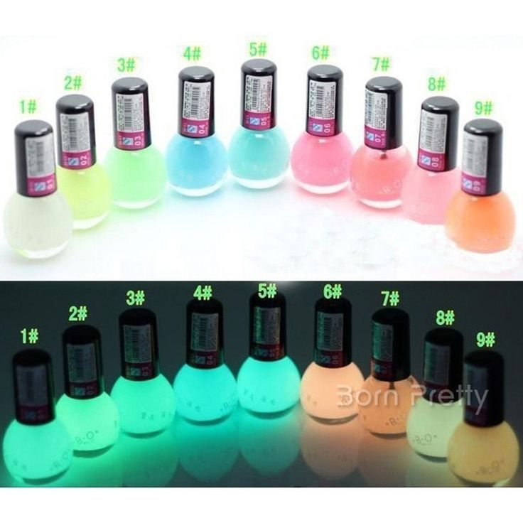 $2.79 1 Bottle 8ml Candy Color Luminous Nail Polish Fluorescent Light Glow in Dark Nail Art For Beauty - BornPrettyStore.com - #5, 6, 10