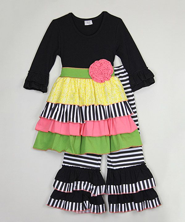 Look at this Black Ruffle Tunic & Pants - Infant, Toddler & Girls on #zulily today!