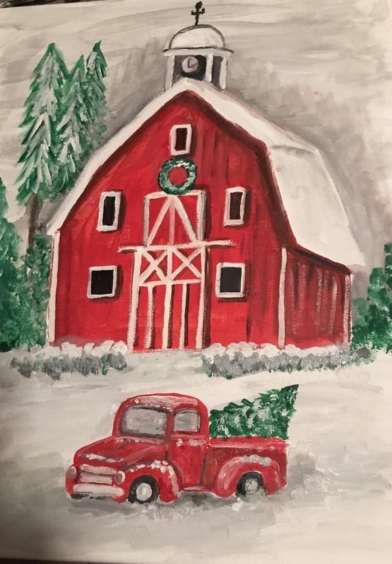 Acrylwandkunstmalerei Den Der Fur Lkw Mit Roten Roter Scheune Weihnachtsdekor Winter Wohnkultur Christmas Decor R Red Barn Barn Painting Red Truck