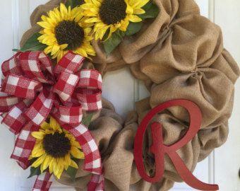Burlap and denim Spring and Summer wreath monogram wreath