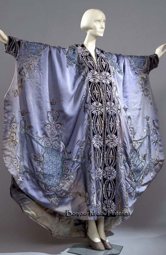 ca. 1900–10. Sky blue padded silk trimmed with midnight blue velvet and embroidered with silk and chenille. Lined in light blue silk satin. Costume Gallery of the Pitti Palace via Europeana Fashion
