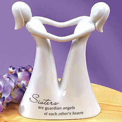 sisters | sister guardian angel figurine $ 30 00us crafted of ceramic comes ...