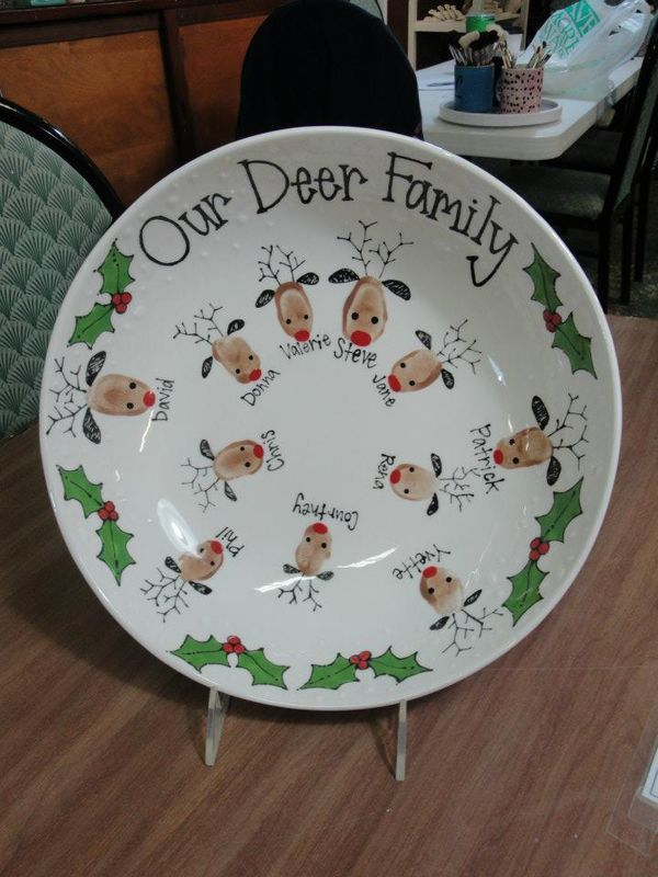 Wonderful Family Christmas Craft Ideas Part - 3: Our Deer Family Plate