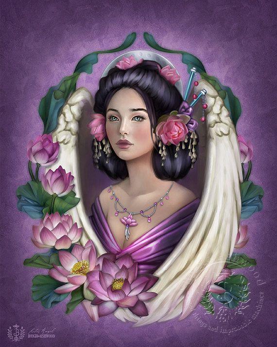Angel Lotus  Art Print  Brigid Ashwood by brigidashwood on Etsy, $15.00