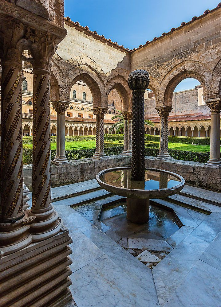 The cloisters of the Monreale Cathedral - Monreale (Palermo), Sicily, Italy (scheduled via http://www.tailwindapp.com?utm_source=pinterest&utm_medium=twpin&utm_content=post78941485&utm_campaign=scheduler_attribution)