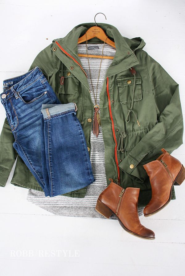 Army Jacket with Jeans and Leather Booties Outfit Idea - Stitch Fix Fashion