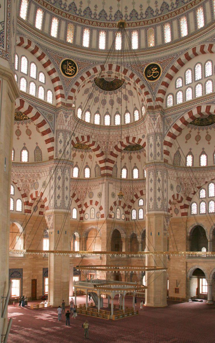 Interior view of Sabancı Central Mosque in Adana, Turkey.