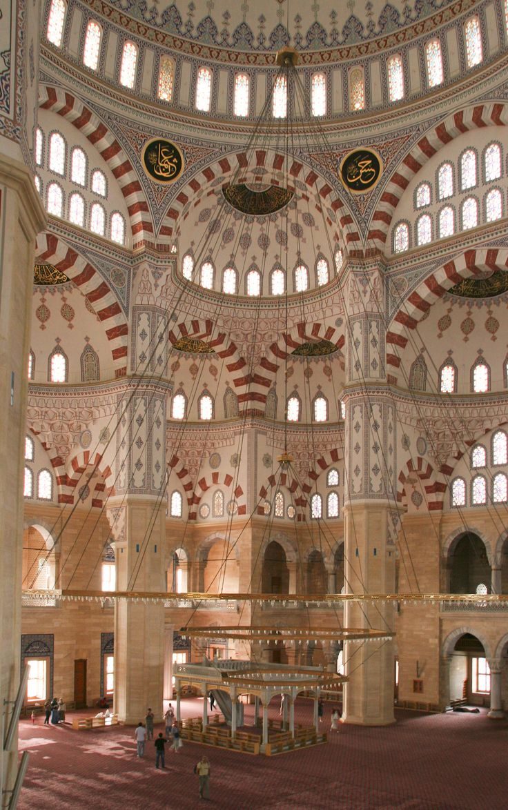 Interior view of Sabancı Central Mosque in Adana, Turkey.