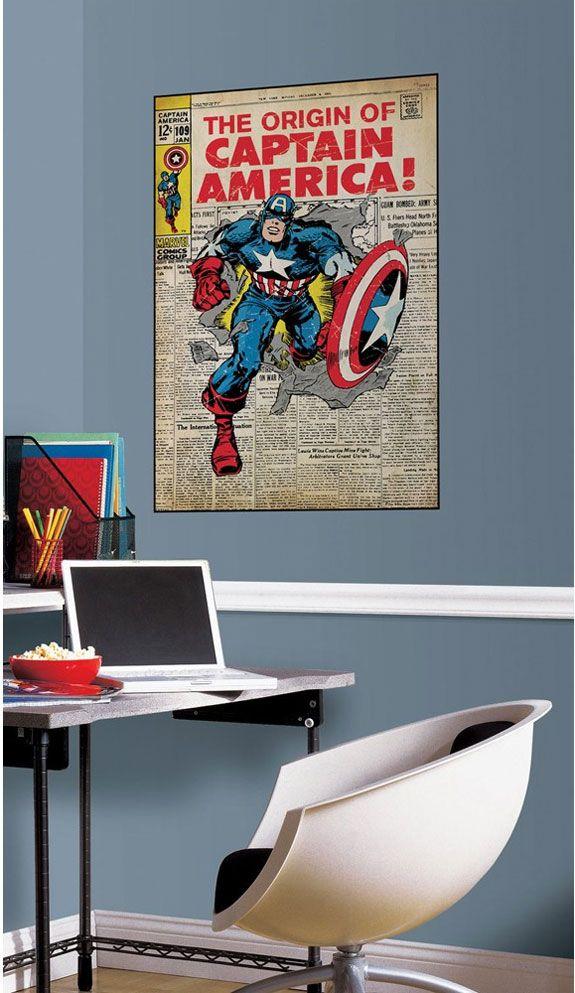 captain america comic book cover accent marvel avengers superhero peelnstick decal