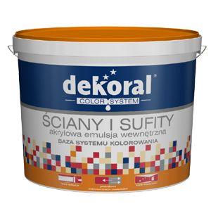 Akrylowa farba emulsyjna przeznaczona jest do dekoracyjnego malowania ścian i sufitów wewnątrz pomieszczeń (tynki cementowe, cementowo-wapienne, gipsowe, płyty gipsowo-kartonowe). Pozostawia matowy efekt wykończenia. Wyrób jest bazą białą i służy do kolorowania w komputerowym systemie doboru koloru Dekoral Color System.