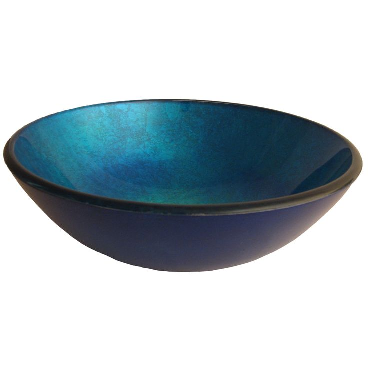 Novatto Verdazzurro Blue Foil-painted Glass and Brushed Nickel Brass Vessel Bathroom Sink Set (Blue Foil Painted Glass, Brushed Nickel Drain)