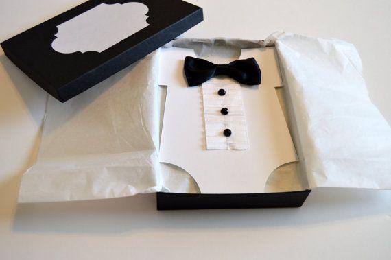 Tuxedo Bowtie (Black Tie) Baby Shower invitation, $8.50.  etsy.com/stampandseal