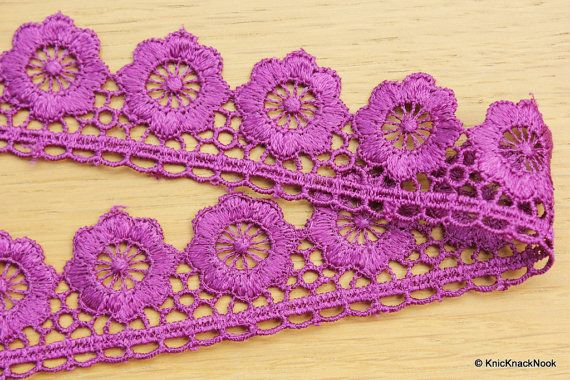 Purple Embroidered Flower Lace Trim Ribbon