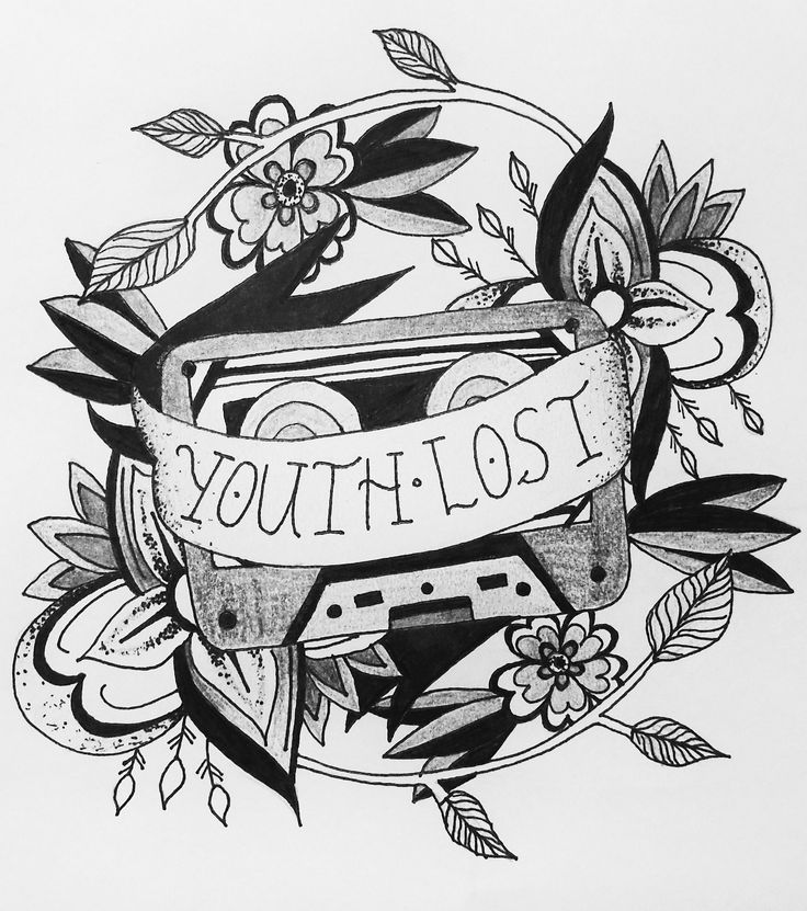 """""""youth lost"""" tattoo design illustration pen and ink drawing pop punk inspired tape tattoo floral mandala style"""