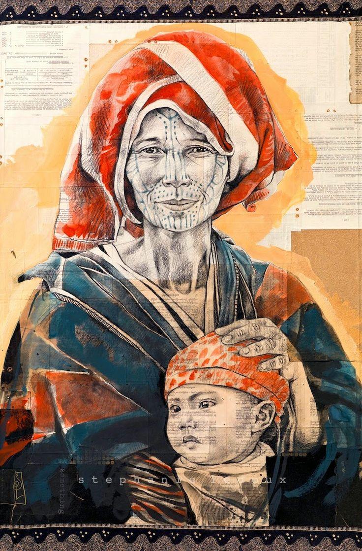 Stéphanie Ledoux - Carnets de voyage: Femme Chin de Birmanie