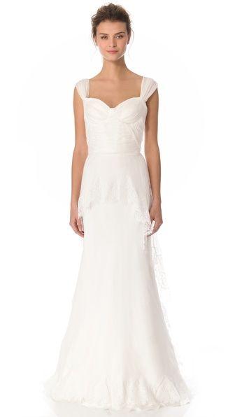 Alberta Ferretti Collection Cap Sleeve Gown