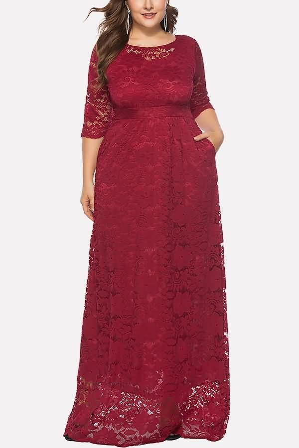 e799ea70baa Women Dark-red Half Sleeve Pocket Casual Plus Size Lace Dress - XL in 2019