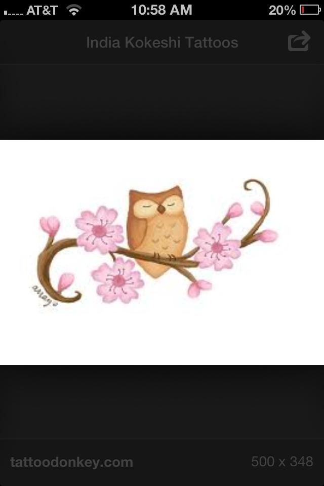 Cute tattoo owl flowers