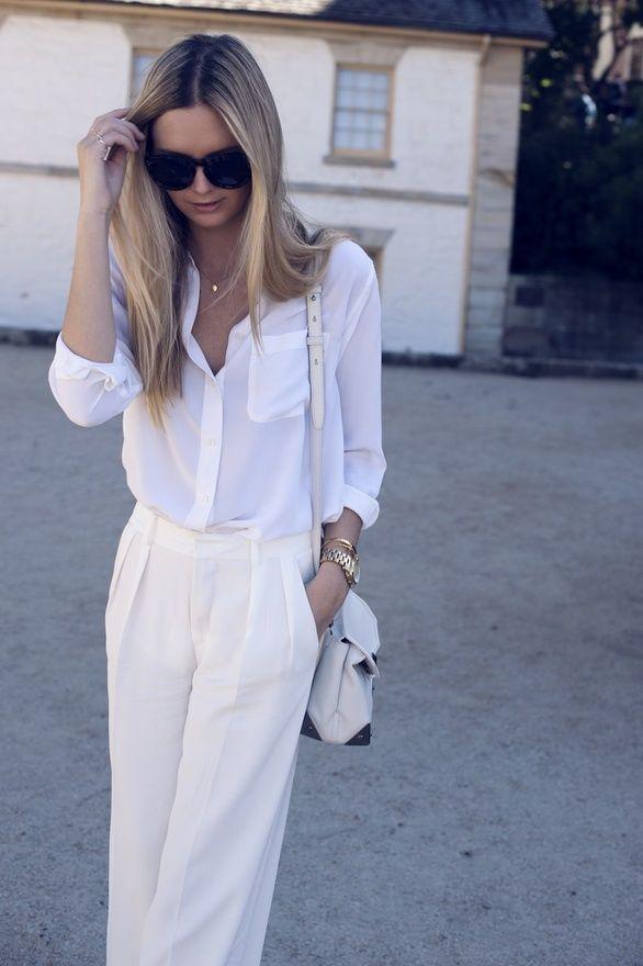 beige pants, white blouse