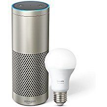 Echo Plus with built-in Hub – Silver  + Philips Hue Bulb included    Echo and Alexa devices let you voice-control thousands of different smart home devices such as lights, switches, TVs, thermostats and more from over 1,200 unique brands.    You can now talk to Alexa on a growing number of products built by the brands you know and love.    Alexa lives in the cloud so it's always getting smarter, and updates are delivered automatically.     Amazon Associates Affiliate