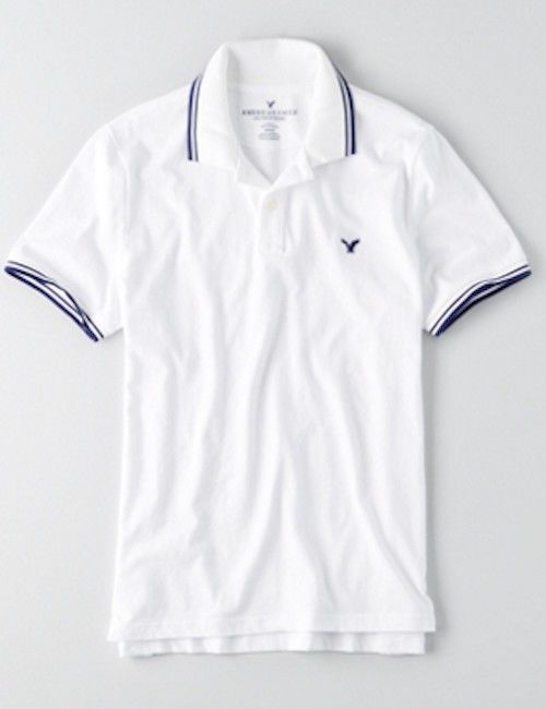 784ae201 NWT American Eagle Men's White Navy Tipped Classic Fit Jersey Polo Shirt  Small #AmericanEagleOutfitters #JerseyPoloShirt