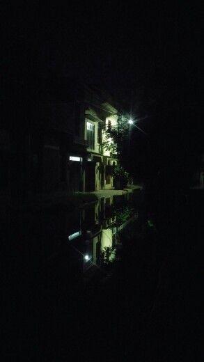 Street Night view after rain