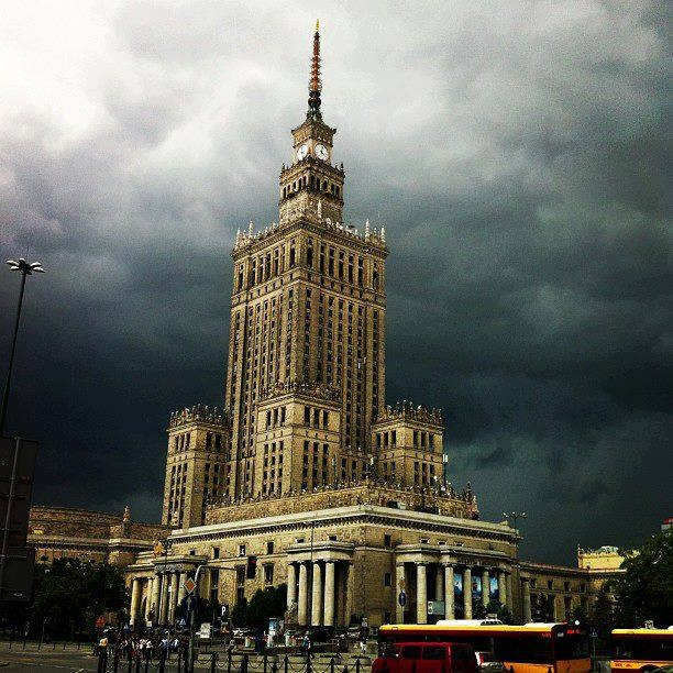 Cloudy sky, Palace of Culture and Science, Warsaw, Poland