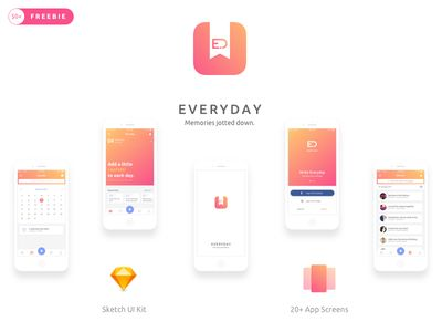 Everyday iOS Journal App UI Kit   #展示#
