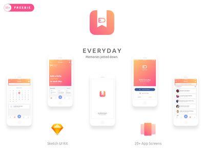 Everyday iOS Journal App UI Kit   #展示#