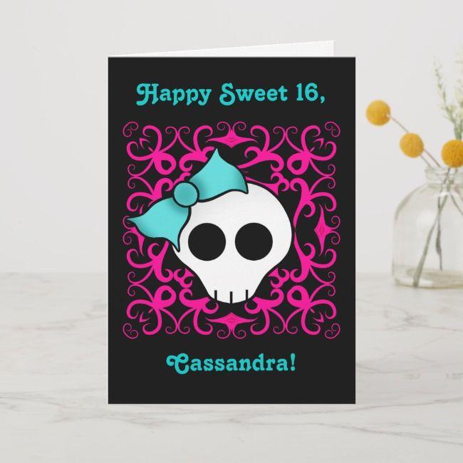 Create Your Own Folded Invitation Zazzle Com Gothic Skulls 16th Birthday Card Sweet 16 Invitations