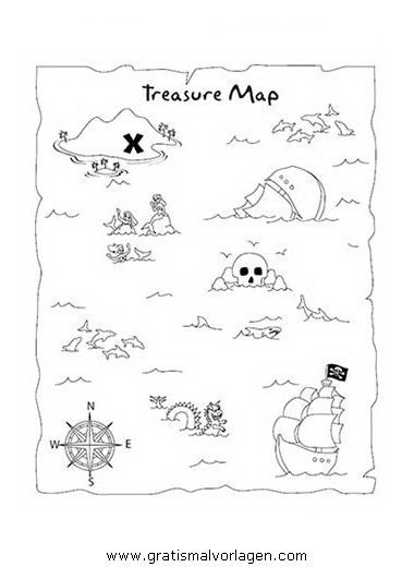 Free Coloring Template Treasure Map 01 in Popular, Various
