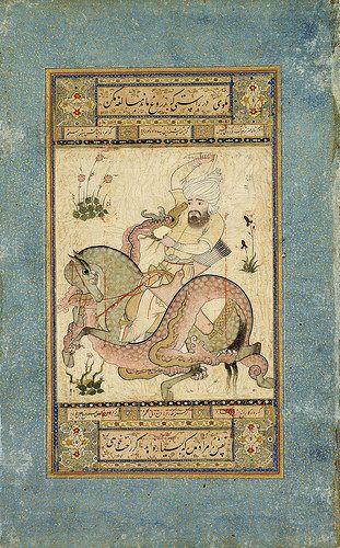 نبرد با اژدها، حدود 1600، قزوین Leaf from the Read Persian Album Persia, Qazvin ca. 1550 378 x 241 mm Item description: Since such batons were worn in Persia only during the rule of Shah Tahmāsp (r. 1524–76), the painting has been dated to about the middle of the century. Although the hero has a sword and bow, he attacks the dragon with his small dagger. Both the marvelously intertwined horse and dragon are spotted.