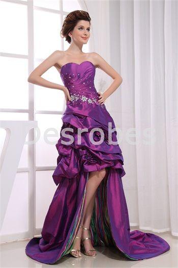 Robe de bal de promo 2013 Violet Robe de vacances Traîne balai en Satin