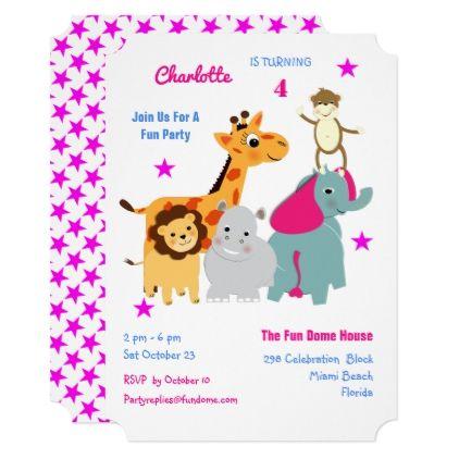 Whimsy Cute Jungle Animals Fun Kids Party Invite - kids birthday gift idea anniversary jubilee presents