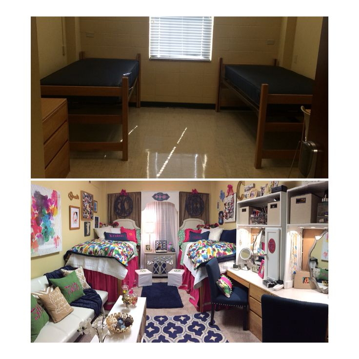 Before and After of Kristen's Dorm room at Martin Hall at Ole Miss! Love it!