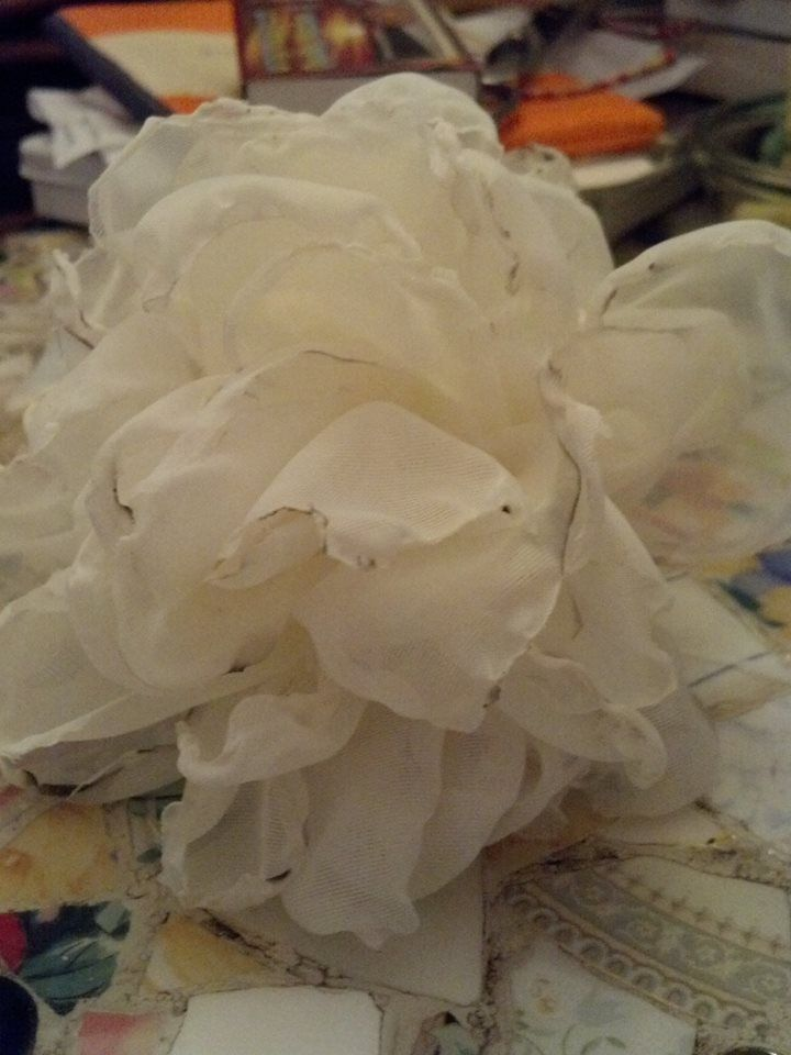 flower made from sheer curtain material