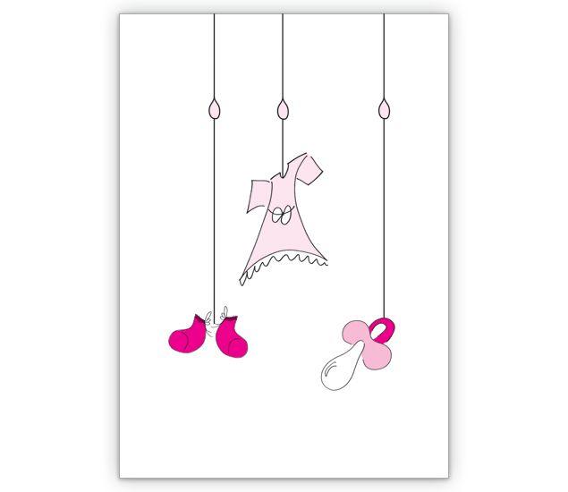 rosa baby gl ckwunschkarte zur geburt und taufe. Black Bedroom Furniture Sets. Home Design Ideas