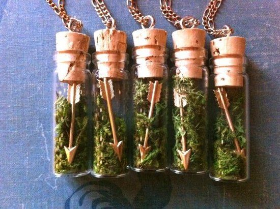 Necklace Party Favors - Your bridal shower guests will get a little ode to Katniss with these Arrow & Moss Necklaces as party favors.