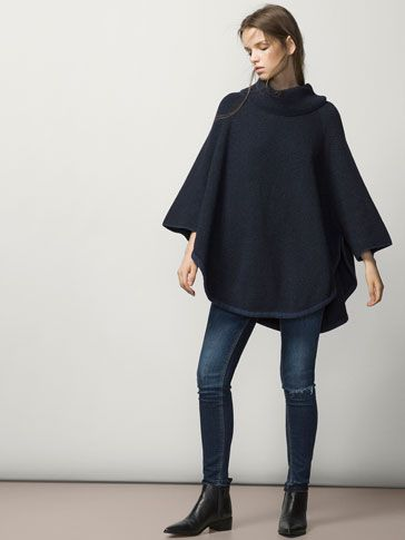 POLO NECK JACQUARD CAPE - Essential Knitwear - WOMEN - United States