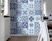 Treppe - Portugiesische Fliesen - Fliesenaufkleber – Küche Fliesenaufkleber - Badezimmer Fliesen Aufkleber - SATZ 48 Fliesen - SKU:BPtiles